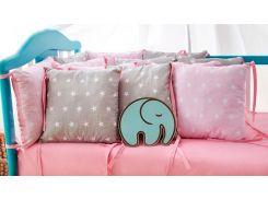Защита в кроватку Добрый Сон от комплекта Облачко 12 шт серо-розовая звезды (3-05-1/14)