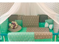Защитные бортики в кроватку Добрый Сон от комплекта Есо 3 Minky 8 шт серо-мятные звезды (1-03-1/3)