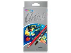 Карандаши цветные акварельные Premium с кисточкой, 12 цветов, Colorino
