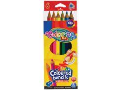Карандаши цветные треугольные Jumbo с точилкой, 6 цветов, Colorino