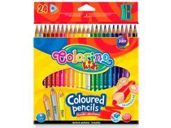 Карандаши цветные трехгранные с точилкой, 24 цвета, Colorino