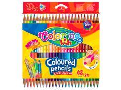 Карандаши цветные, треугольные двусторонние (24 шт., 48 цветов), Colorino