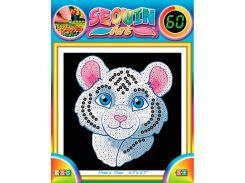 Картинка из пайеток Белый тигр, 60, Sequin Art