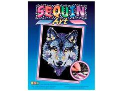 Картинка из пайеток Волк, Blue, Sequin Art
