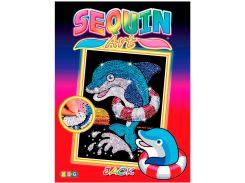 Картинка из пайеток Дельфин Джек, Red, Sequin Art