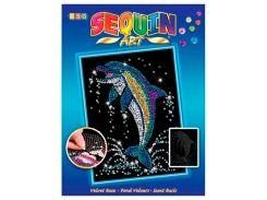 Картинка из пайеток Дельфин, Blue, Sequin Art