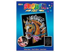 Картинка из пайеток Конь, Blue, Sequin Art