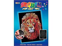 Картинка из пайеток Лев, Blue, Sequin Art