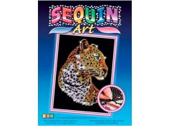 Картинка из пайеток Леопард, Blue, Sequin Art