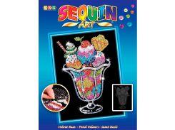 Картинка из пайеток Мороженое Пломбир, Blue, Sequin Art
