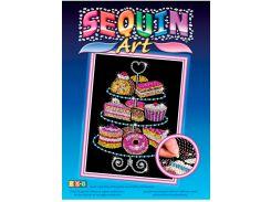 Картинка из пайеток Набор пирожных, Blue, Sequin Art