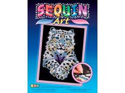 Картинка из пайеток Снежный леопард, Blue, Sequin Art