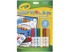 Книга-раскраска по номерам с мини-фломастерами (16 страниц, 6 мини-фломастеров), Crayola