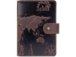 Кожаное портмоне HiArt PB-03S/1 Shabby Gavana Brown 7 wonders of the world (PB-03S/1-S19-1106-T002)