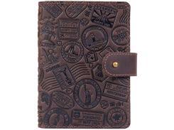 Кожаное портмоне для паспорт HiArt PB-02/1 Shabby GavanaBrown Let'sGo Travel (PB-02/1-S19-1106-T007)