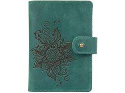 Кожаное портмоне для паспорта HiArt PB-03S/1 Shabby Alga Mehendi Classic (PB-03S/1-S19-5920-T006)
