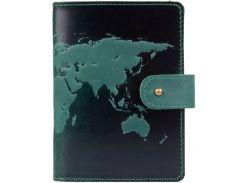 Кожаное портмоне для паспорта HiArt PB-03S/1 Shabby Alga World Map (PB-03S/1-S19-5920-T001)