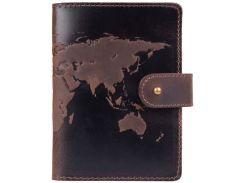 Кожаное портмоне для паспорта HiArt PB-03S/1 Shabby Gavana Brown World Map (PB-03S/1-S19-1106-T001)