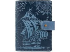 Кожаное портмоне для паспорта HiArt PB-03S/1 Shabby Lagoon Discoveries (PB-03S/1-S18-4417-T003)