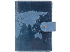 Кожаное портмоне для паспорта HiArt PB-03S/1 Shabby Lagoon World Map (PB-03S/1-S18-4417-T001)