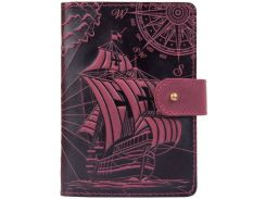 Кожаное портмоне для паспорта HiArt PB-03S/1 Shabby Plum Discoveries (PB-03S/1-S19-1621-T003)