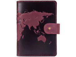Кожаное портмоне для паспорта HiArt PB-03S/1 Shabby Plum World Map (PB-03S/1-S19-1621-T001)