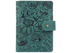 Кожаное портмоне для паспорта ID HiArt PB-02/1 Shabby Alga Let's Go Travel (PB-02/1-S19-5920-T007)