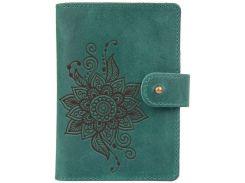 Кожаное портмоне для паспорта ID HiArt PB-02/1 Shabby Alga Mehendi Classic (PB-02/1-S19-5920-T006)