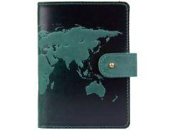 Кожаное портмоне для паспорта ID HiArt PB-02/1 Shabby Alga World Map (PB-02/1-S19-5920-T001)