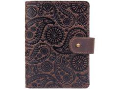 Кожаное портмоне для паспорта ID HiArt PB-02/1 Shabby Gavana Brown Buta Art (PB-02/1-S19-1106-T004)