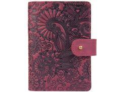 Кожаное портмоне для паспорта ID HiArt PB-02/1 Shabby Plum Mehendi Art (PB-02/1-S19-1621-T005)