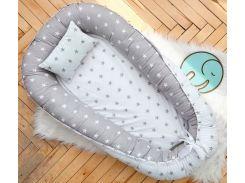 Кокон Добрый Сон большой бело-серый звезды 72 × 105 см (5-03/4)
