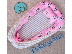 Кокон Добрый Сон большой панды полоска 72 × 105 см розовый (5-03/9)