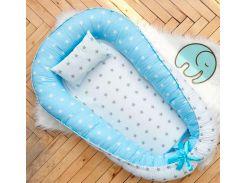Кокон Добрый Сон маленький бело-голубой звезды 52 × 85 см (5-02/2)