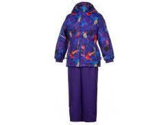 Комплект для девочек (куртка и полукомбинезон) YONNE, Huppa, лиловый с принтом-лиловый (110)