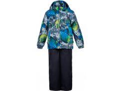 Комплект для мальчиков (куртка и полукомбинезон) Yoko, Huppa, серый с принтом темно-серый, (122)