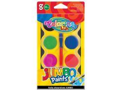 Краски акварельные Jumbo (8 цветов и кисточка), Colorino