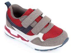 Кроссовки на липучках, серо-красные, Lapsi (Arial) (28)