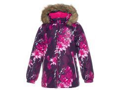 Куртка зимняя для девочек Loore, Huppa, бордовый с принтом (140)