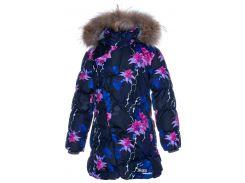 Куртка зимняя для девочек Rosa 1, Huppa, темно-синий с принтом (134)