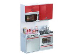 Кухня кукольная со световыми и звуковыми эффектами, Красная 2, QunFengToys