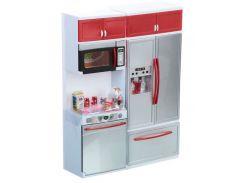 Кухня кукольная со световыми и звуковыми эффектами, Красная 4, QunFengToys