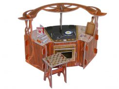 Кухня, коллекционный набор сборной мебели из картона, Умная бумага