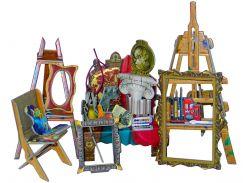Мастерская художника, коллекционный набор сборной мебели из картона, Умная бумага