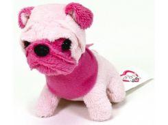 Мини-модница Мопс с розовой мордочкой, собачка с повязкой, 10 см. Chi Chi Love