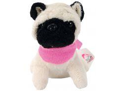Мини-модница Мопс с черной мордочкой, собачка с повязкой, 10 см. Chi Chi Love