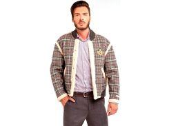 Мужская куртка дубленка, серая в клетку, размер XL, Dilovyi