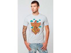 Мужская футболка Огненный петух, Диво, серая, 2XL