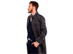 Мужское пальто в клетку с трикотажем, серое, размер L, Dilovyi