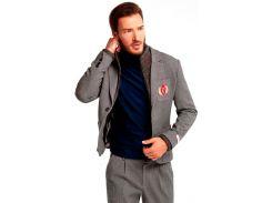 Мужской пиджак с вязаным воротом, серый, размер L, Dilovyi